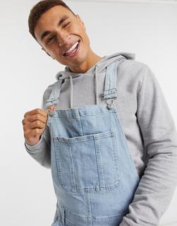 Abercrombie & Fitch - Shorts-Overall aus Denim in hellblauer Waschung