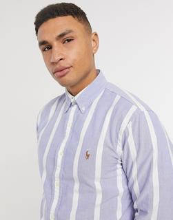 Polo Ralph Lauren - Regulär geschnittenes Oxford-Hemd mit Polospieler-Logo, Blockstreifen und Button-Down-Kragen in Blau/Weiß