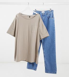 ASOS DESIGN - PLUS – Ungesäumtes Oversize-T-Shirt mit Ziernähten-Grau