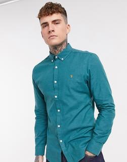Farah - Steen – Schmal geschnittenes Hemd in Türkis-Blau