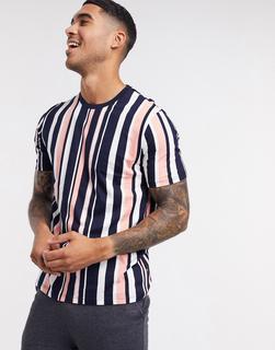 Burton Menswear - T-Shirt mit vertikalen Streifen in Koralle und Marine-Navy