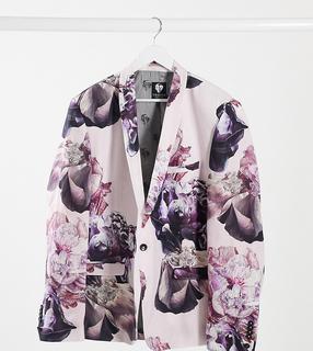 Twisted Tailor - PLUS – Schmale Anzugjacke aus staubrosa Leinen mit floralem Print