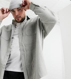 ASOS DESIGN - Plus – Hemd aus Wollmischung mit extremer Oversized-Passform in Kalkgrau
