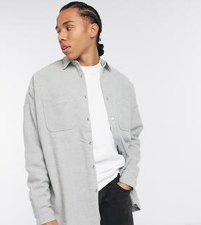ASOS DESIGN - Tall – Kalkgraues Hemd aus Wollmischung in Extreme Oversize-Passform