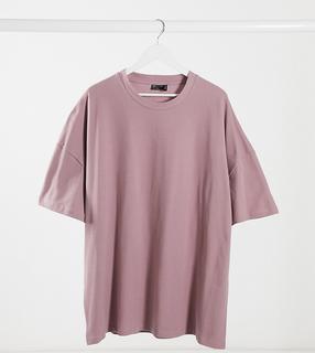ASOS DESIGN - Plus – Oversize-T-Shirt aus Pikee-Gewebe in verwaschenem Violett