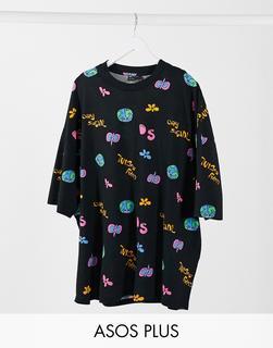 ASOS Day Social - Plus – Oversize-T-Shirt mit durchgehendem Day Social-Logoaufdruck-Schwarz