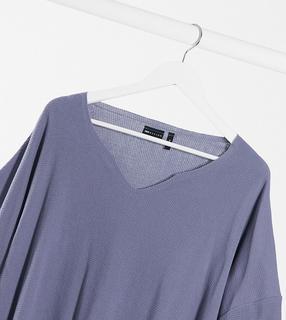 ASOS DESIGN - Plus – Oversize- T-Shirt mit eingekerbtem Ausschnitt in Grau