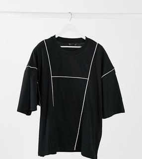 ASOS DESIGN - Plus – Oversize-T-Shirt mit paspelierten Einsätzen und marmoriertem Flockmuster hinten-Schwarz