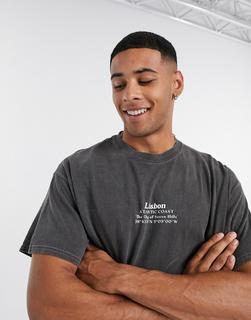 Topman - T-Shirt mit Lisbon-Print in Schwarz