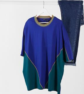 ASOS DESIGN - Plus – Blaues Oversize-T-Shirt mit Farbblockdesign und Retro-Zierstreifen-Navy