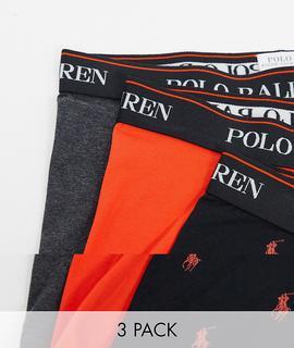 Polo Ralph Lauren - Unterhosen in Schwarz/Grau/Orange mit kontrastierendem Logobund, 3er-Pack-Mehrfarbig