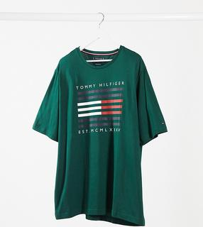 TOMMY HILFIGER - Big & Tall – Grünes T-Shirt mit gestreiftem Flaggenlogo