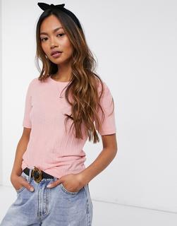 Brave Soul - Valerie – Geripptes T-Shirt-Rosa