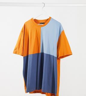 ASOS DESIGN - Plus – Locker geschnittenes T-Shirt in Marineblau mitFarbblockdesign