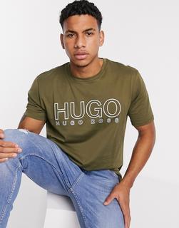 Boss - HUGO – Dolive– T-Shirt mit Rundhalsausschnitt und großem Logo-Beige