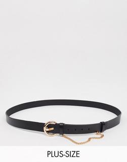 Glamorous Curve - Schwarzer Gürtel mit goldener Kettenverzierung