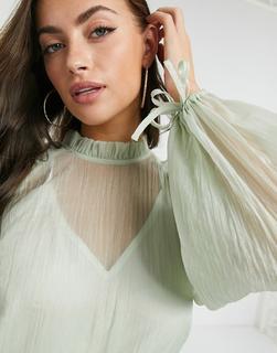 Just Female - Sanne – Transparente Bluse mit voluminösen Ärmeln in Grau
