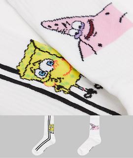 """ASOS DESIGN - Sportsocken mit """"Spongebob & Patrick""""-Design im 2er-Pack-Weiß"""