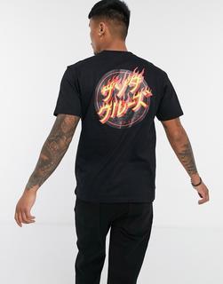 Santa Cruz - Flaming Japanese Dot – T-Shirt in Schwarz