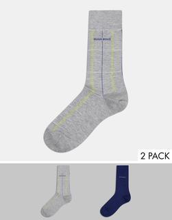 Boss - 2er-Set weiche, karierte Socken-Silber