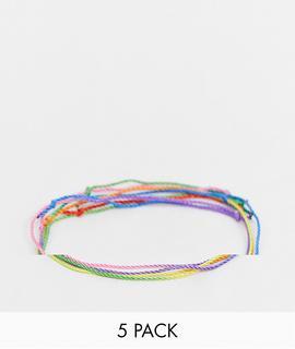 ASOS DESIGN - Armbänder-Set in Regenbogenfarben-Mehrfarbig