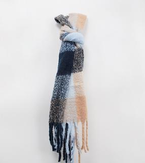 Glamorous - Exklusiver Oversize-Schal in Camel mit Karomuster-Beige