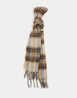ASOS DESIGN - Langer, flauschiger Schal aus Wollmischung in Braun und Blau kariert-Mehrfarbig