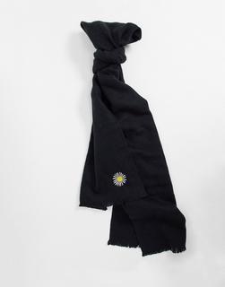 ASOS DESIGN - Superweicher, langer, gewebter Schal mit Gänseblümchenstickerei-Schwarz