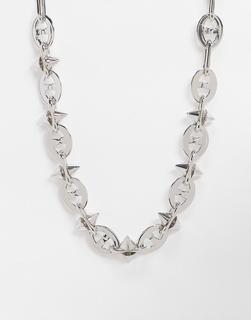 ASOS DESIGN - Kurze, dicke Halskette in Silberton, 13 mm