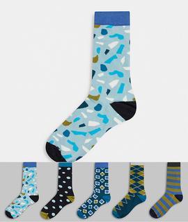 Happy Socks - HS by Happy Socks – Blau-bunte Socken im 5er-Pack