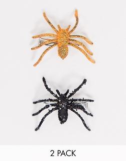 Pieces - Glitzernde Spinnen-Haarspangen in Orange und Schwarz, 2er-Pack-Mehrfarbig