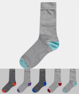 Burton Menswear - Socken mit kontrastierender Ferse und Zehenpartie in Grau, 5er-Pack