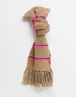 Levis - Levi's – Hellbrauner Schal mit Neon-Streifen