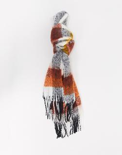 ASOS DESIGN - Langer, flauschiger Schal mit Karomuster in Senfgelb und Braun-Mehrfarbig