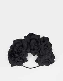 Glamorous - Halloween – Schwarzes Haarband mit floralem Design