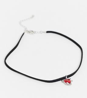 ASOS Curve - ASOS DESIGN Curve – Halloween – Enge Halskette mit Herzanhänger-Silber