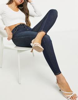 Stradivarius - Enge Jeans in Indigoblau mit hoher Taille