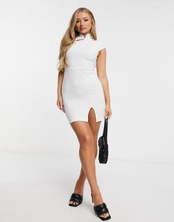 I Saw It First - Weißes Bodycon-Kleid aus Krepp-Neopren mit asymmetrischem Schlitz