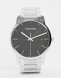 Calvin Klein - Uhr mit schwarzem Ziffernblatt-Silber