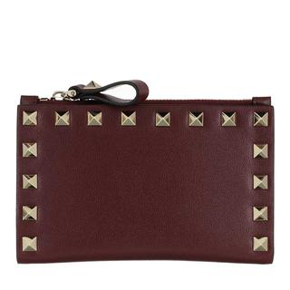 Valentino - Portemonnaie - Rockstud Wallet Leather Cerise - in rot - für Damen