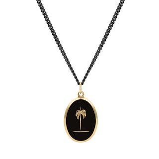 Miansai - Halskette - Men Palm Tree Pendant Necklace Polished Gold/Black - in schwarz - für Damen