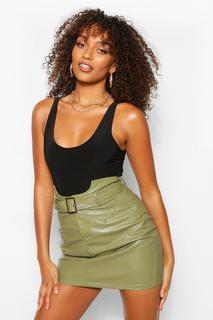 boohoo - Womens Tall Leather Look Waist Detail Belted Skirt - Green - 8, Green