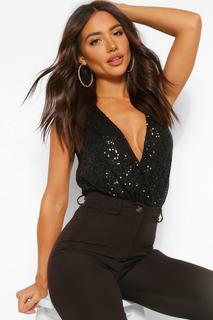 boohoo - Womens Sequin Wrap Sleeveless Bodysuit - Black - 8, Black
