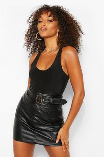 boohoo - Womens Tall Leather Look Waist Detail Belted Skirt - Black - 4, Black