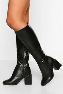boohoo - Womens Wide Fit Block Heel Knee High Boot - Black - 6, Black