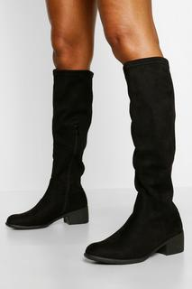 boohoo - Womens Flat Knee High Boot - Black - 3, Black