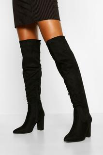 boohoo - Womens Block Heel Thigh High Boots - Black - 8, Black