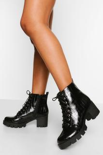 boohoo - Womens Wide Fit Lace Up Block Heel Hiker Boot - Black - 4, Black