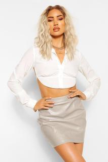 boohoo - Womens Leather Look A Line Mini Skirt - Grey - 8, Grey