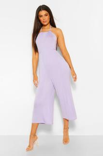 boohoo - Womens Strappy Jersey Jumpsuit - Lilac - 34, Lilac